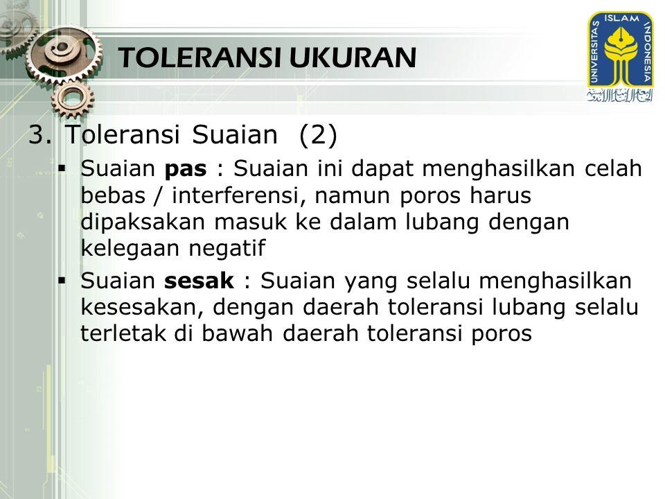 TOLERANSI UKURAN 3.Toleransi Suaian (2)  Suaian pas : Suaian ini dapat menghasilkan celah bebas / interferensi, namun poros harus dipaksakan masuk ke