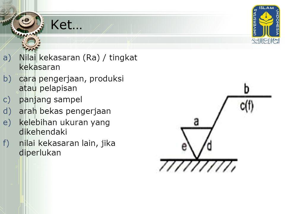 Ket… a)Nilai kekasaran (Ra) / tingkat kekasaran b)cara pengerjaan, produksi atau pelapisan c)panjang sampel d)arah bekas pengerjaan e)kelebihan ukuran