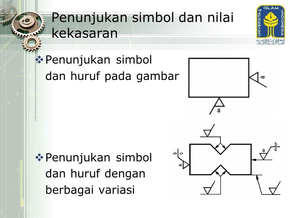 Penunjukan simbol dan nilai kekasaran  Penunjukan simbol dan huruf pada gambar  Penunjukan simbol dan huruf dengan berbagai variasi