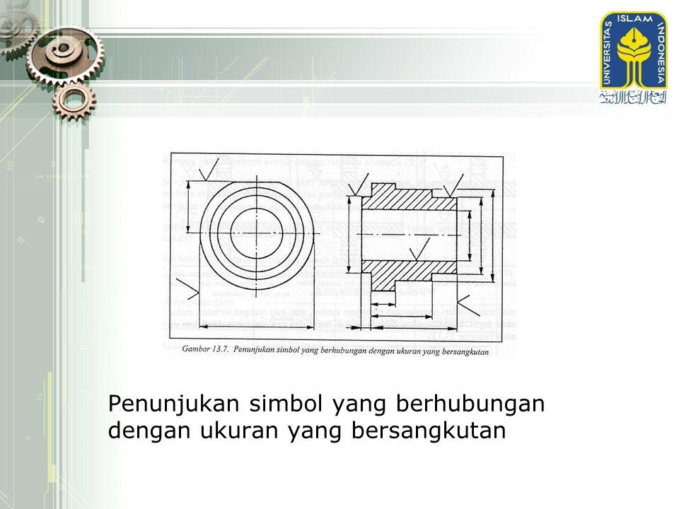 Penunjukan simbol yang berhubungan dengan ukuran yang bersangkutan