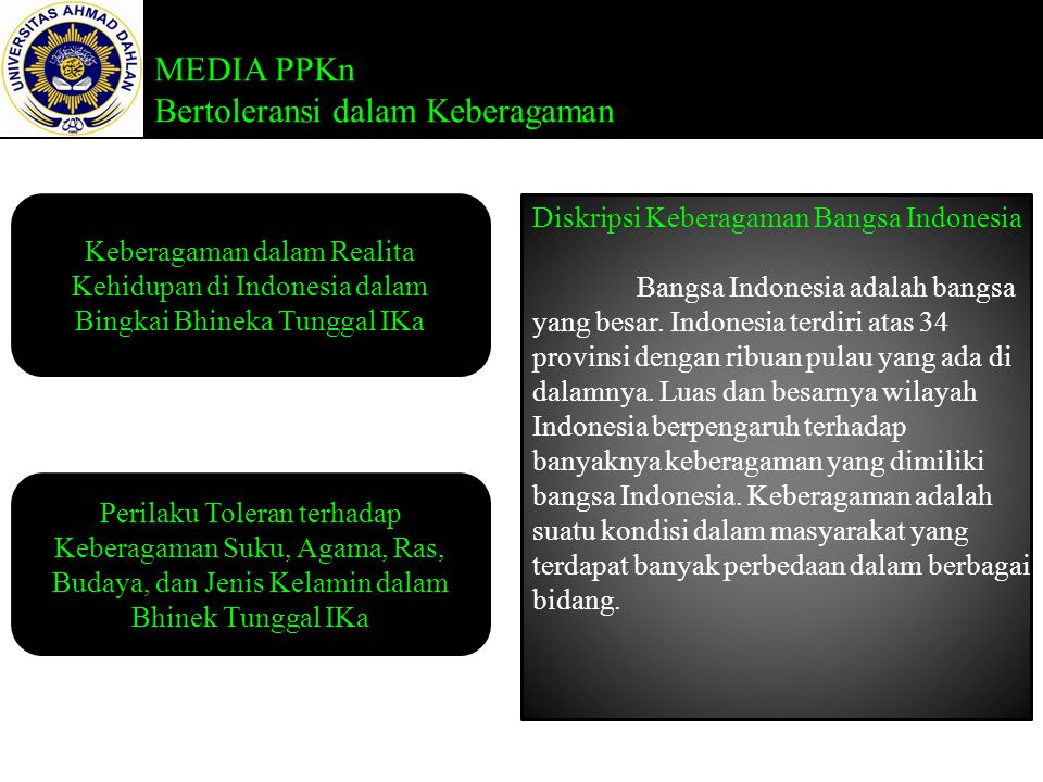 MEDIA PPKn Bertoleransi dalam Keberagaman Keberagaman dalam Realita Kehidupan di Indonesia dalam Bingkai Bhineka Tunggal IKa Perilaku Toleran terhadap Keberagaman Suku, Agama, Ras, Budaya, dan Jenis Kelamin dalam Bhinek Tunggal IKa Diskripsi Keberagaman Bangsa Indonesia Bangsa Indonesia adalah bangsa yang besar.