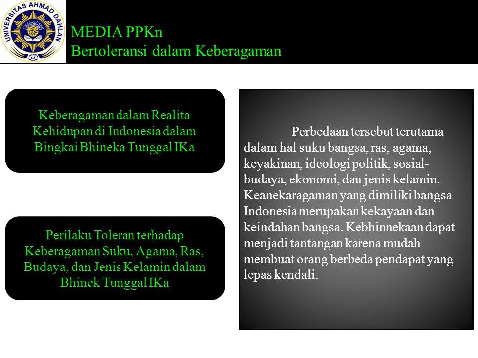 MEDIA PPKn Bertoleransi dalam Keberagaman Keberagaman dalam Realita Kehidupan di Indonesia dalam Bingkai Bhineka Tunggal IKa Perilaku Toleran terhadap Keberagaman Suku, Agama, Ras, Budaya, dan Jenis Kelamin dalam Bhinek Tunggal IKa Perbedaan tersebut terutama dalam hal suku bangsa, ras, agama, keyakinan, ideologi politik, sosial- budaya, ekonomi, dan jenis kelamin.