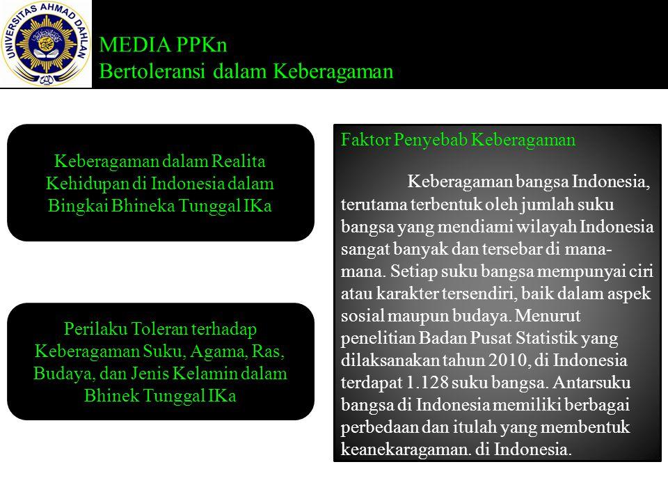 MEDIA PPKn Bertoleransi dalam Keberagaman Keberagaman dalam Realita Kehidupan di Indonesia dalam Bingkai Bhineka Tunggal IKa Perilaku Toleran terhadap Keberagaman Suku, Agama, Ras, Budaya, dan Jenis Kelamin dalam Bhinek Tunggal IKa Faktor Penyebab Keberagaman Keberagaman bangsa Indonesia, terutama terbentuk oleh jumlah suku bangsa yang mendiami wilayah Indonesia sangat banyak dan tersebar di mana- mana.