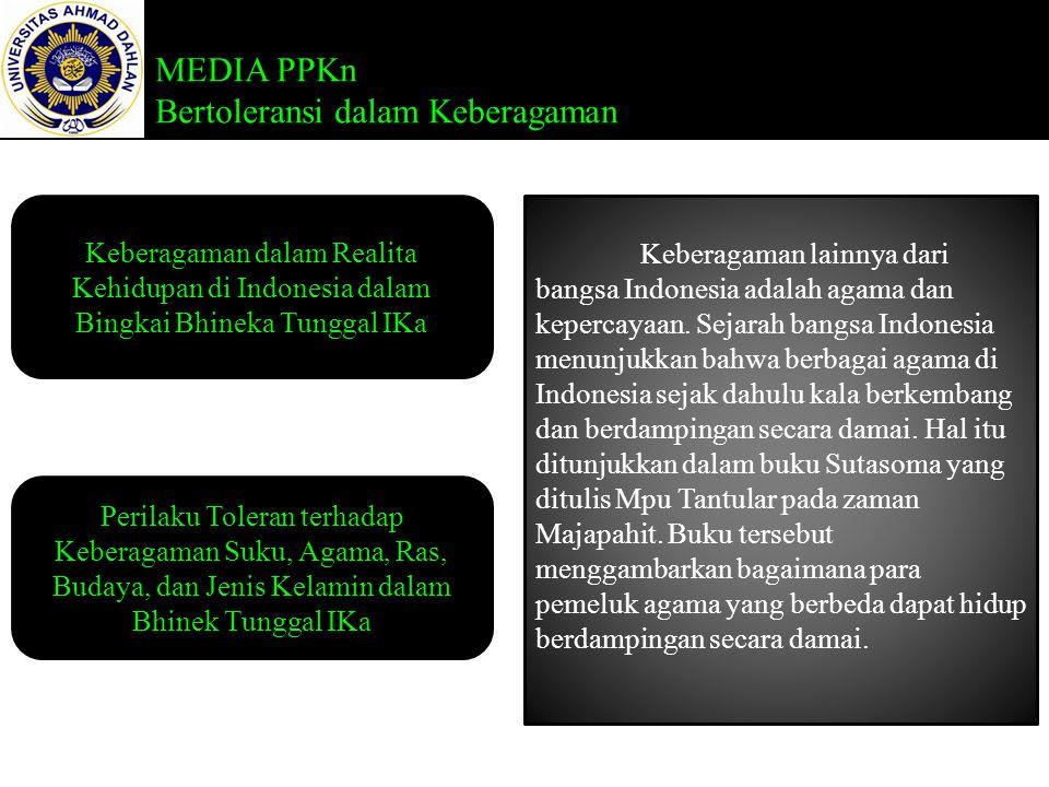 MEDIA PPKn Bertoleransi dalam Keberagaman Keberagaman dalam Realita Kehidupan di Indonesia dalam Bingkai Bhineka Tunggal IKa Perilaku Toleran terhadap Keberagaman Suku, Agama, Ras, Budaya, dan Jenis Kelamin dalam Bhinek Tunggal IKa Keberagaman lainnya dari bangsa Indonesia adalah agama dan kepercayaan.