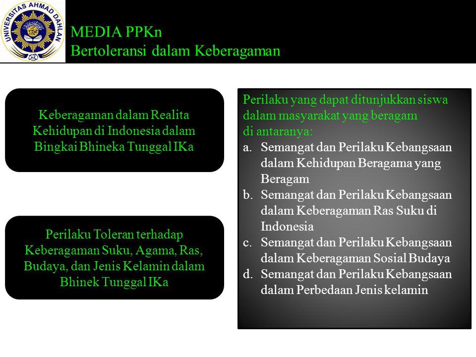 MEDIA PPKn Bertoleransi dalam Keberagaman Keberagaman dalam Realita Kehidupan di Indonesia dalam Bingkai Bhineka Tunggal IKa Perilaku Toleran terhadap Keberagaman Suku, Agama, Ras, Budaya, dan Jenis Kelamin dalam Bhinek Tunggal IKa Perilaku yang dapat ditunjukkan siswa dalam masyarakat yang beragam di antaranya: a.Semangat dan Perilaku Kebangsaan dalam Kehidupan Beragama yang Beragam b.Semangat dan Perilaku Kebangsaan dalam Keberagaman Ras Suku di Indonesia c.Semangat dan Perilaku Kebangsaan dalam Keberagaman Sosial Budaya d.Semangat dan Perilaku Kebangsaan dalam Perbedaan Jenis kelamin