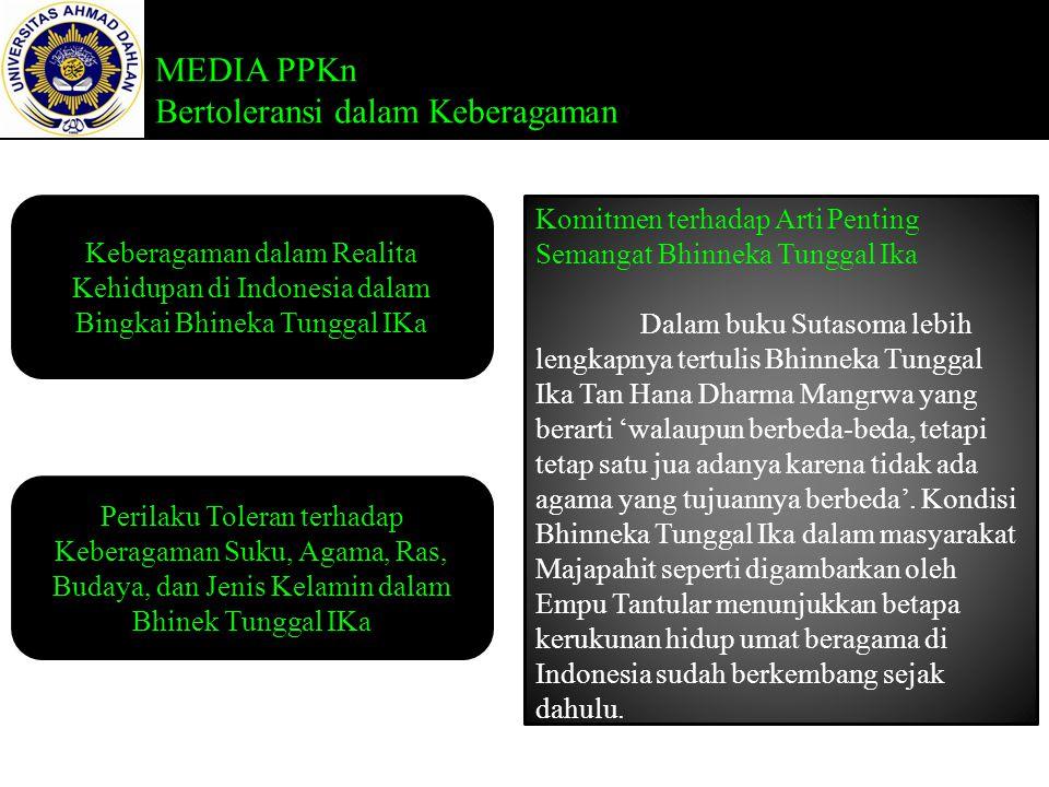 MEDIA PPKn Bertoleransi dalam Keberagaman Keberagaman dalam Realita Kehidupan di Indonesia dalam Bingkai Bhineka Tunggal IKa Perilaku Toleran terhadap Keberagaman Suku, Agama, Ras, Budaya, dan Jenis Kelamin dalam Bhinek Tunggal IKa Komitmen terhadap Arti Penting Semangat Bhinneka Tunggal Ika Dalam buku Sutasoma lebih lengkapnya tertulis Bhinneka Tunggal Ika Tan Hana Dharma Mangrwa yang berarti 'walaupun berbeda-beda, tetapi tetap satu jua adanya karena tidak ada agama yang tujuannya berbeda'.