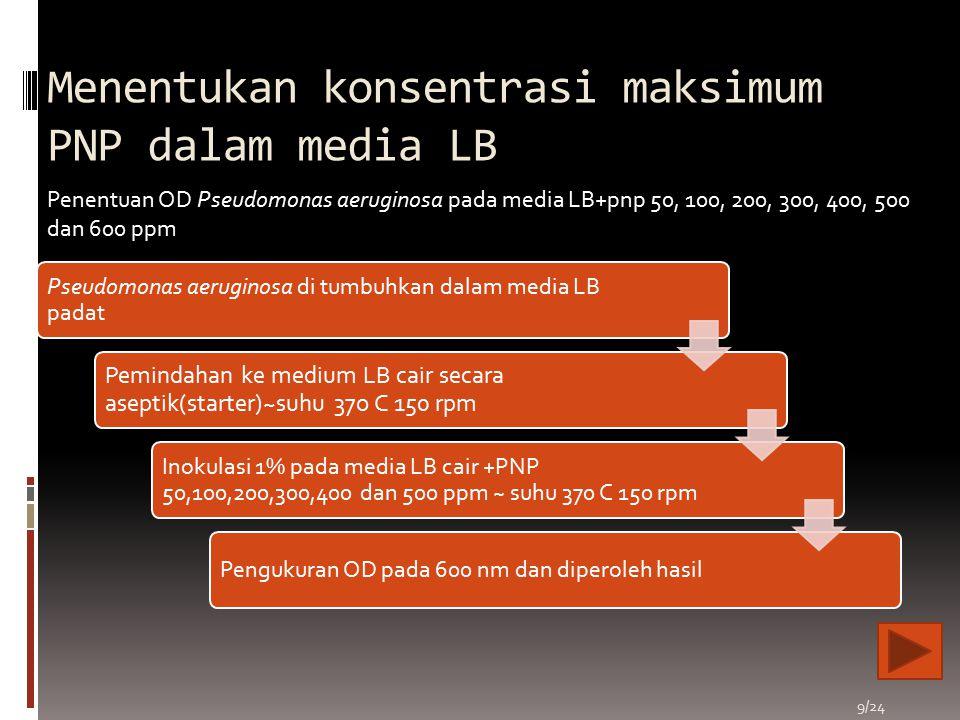 Menentukan konsentrasi maksimum PNP dalam media LB Pseudomonas aeruginosa di tumbuhkan dalam media LB padat Pemindahan ke medium LB cair secara asepti