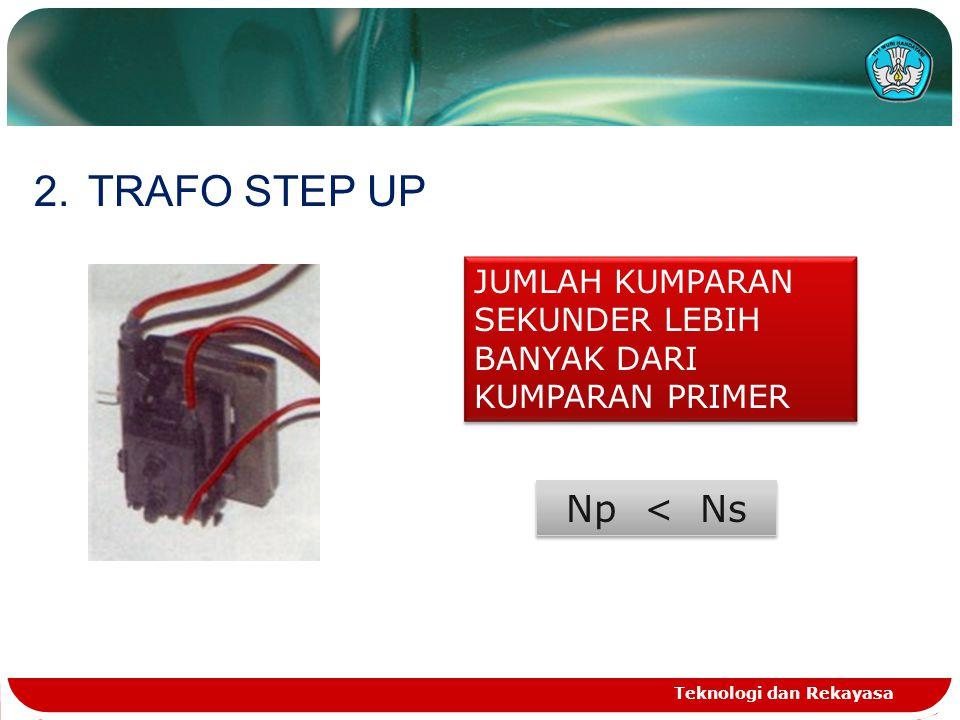 Teknologi dan Rekayasa 2.TRAFO STEP UP JUMLAH KUMPARAN SEKUNDER LEBIH BANYAK DARI KUMPARAN PRIMER Np < Ns