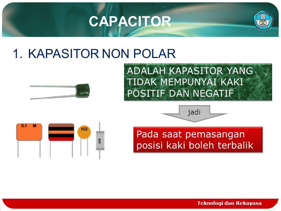 CAPACITOR Teknologi dan Rekayasa 1.KAPASITOR NON POLAR ADALAH KAPASITOR YANG TIDAK MEMPUNYAI KAKI POSITIF DAN NEGATIF jadi Pada saat pemasangan posisi