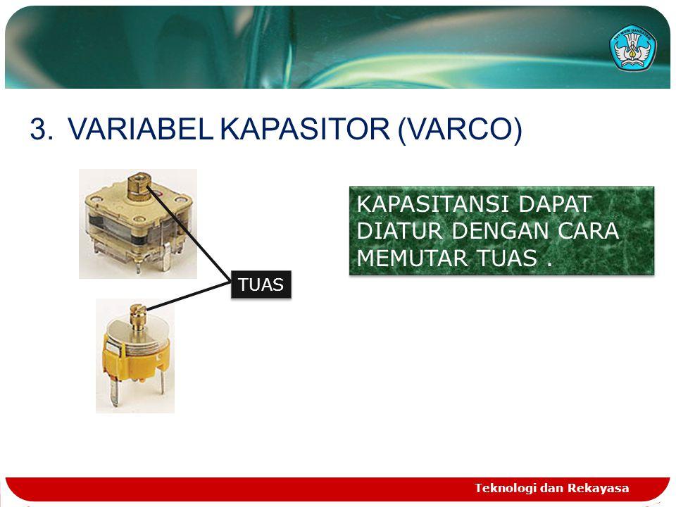 Teknologi dan Rekayasa 3.VARIABEL KAPASITOR (VARCO) TUAS KAPASITANSI DAPAT DIATUR DENGAN CARA MEMUTAR TUAS.