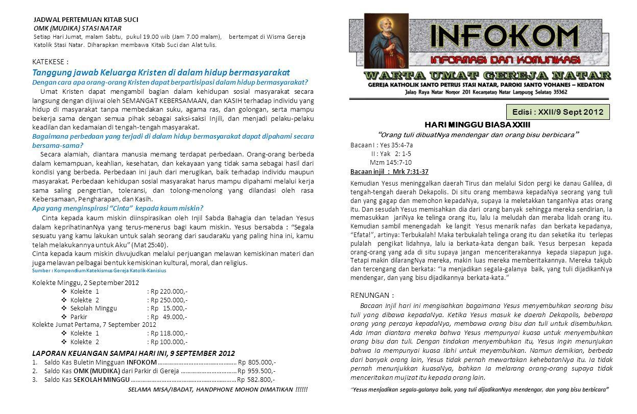 """Edisi : XXII/9 Sept 2012 HARI MINGGU BIASA XXIII """" Orang tuli dibuatNya mendengar dan orang bisu berbicara """" Bacaan I : Yes 35:4-7a II : Yak 2: 1-5 Mz"""