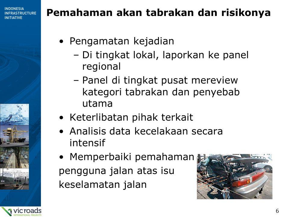 6 Pemahaman akan tabrakan dan risikonya Pengamatan kejadian –Di tingkat lokal, laporkan ke panel regional –Panel di tingkat pusat mereview kategori tabrakan dan penyebab utama Keterlibatan pihak terkait Analisis data kecelakaan secara intensif Memperbaiki pemahaman pengguna jalan atas isu keselamatan jalan