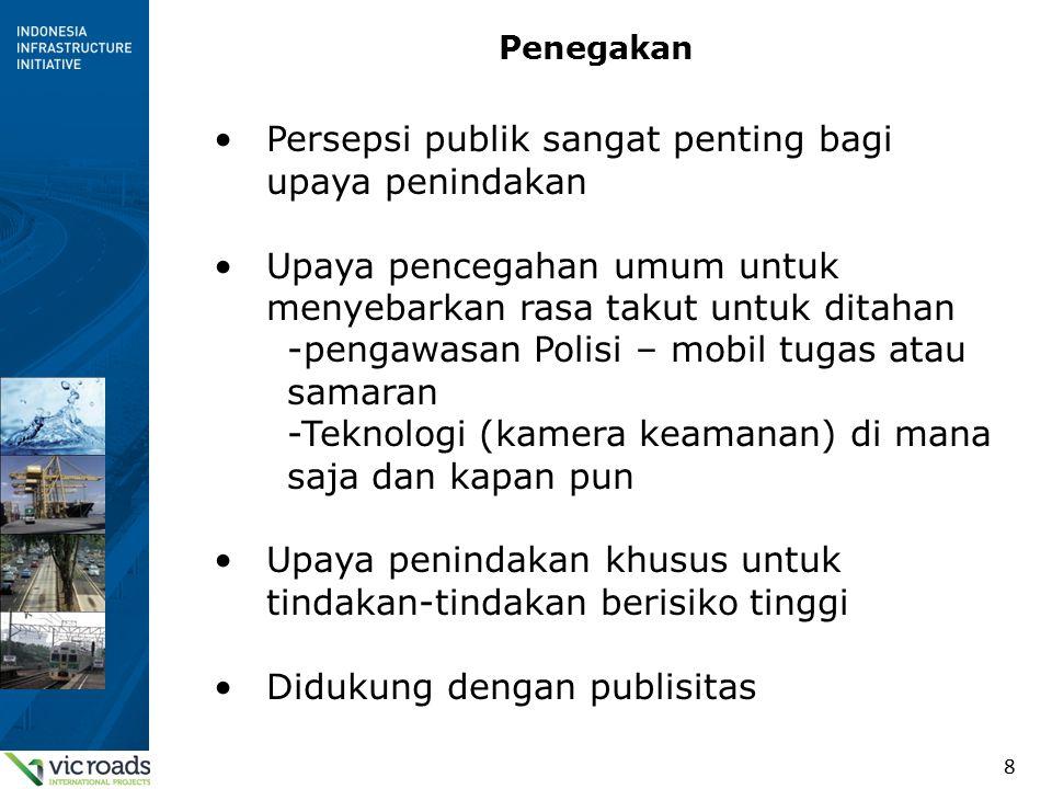 8 Penegakan Persepsi publik sangat penting bagi upaya penindakan Upaya pencegahan umum untuk menyebarkan rasa takut untuk ditahan -pengawasan Polisi – mobil tugas atau samaran -Teknologi (kamera keamanan) di mana saja dan kapan pun Upaya penindakan khusus untuk tindakan-tindakan berisiko tinggi Didukung dengan publisitas