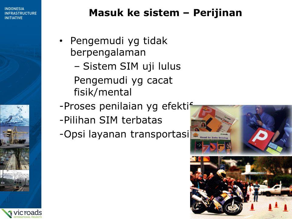 9 Masuk ke sistem – Perijinan Pengemudi yg tidak berpengalaman –Sistem SIM uji lulus Pengemudi yg cacat fisik/mental -Proses penilaian yg efektif -Pilihan SIM terbatas -Opsi layanan transportasi