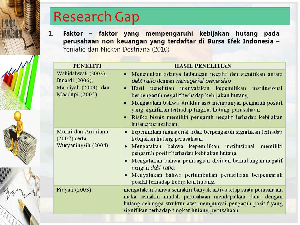 Research Gap 1.Faktor – faktor yang mempengaruhi kebijakan hutang pada perusahaan non keuangan yang terdaftar di Bursa Efek Indonesia – Yeniatie dan N
