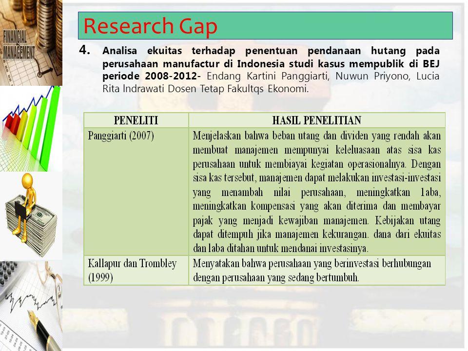 Research Gap 4. Analisa ekuitas terhadap penentuan pendanaan hutang pada perusahaan manufactur di Indonesia studi kasus mempublik di BEJ periode 2008-