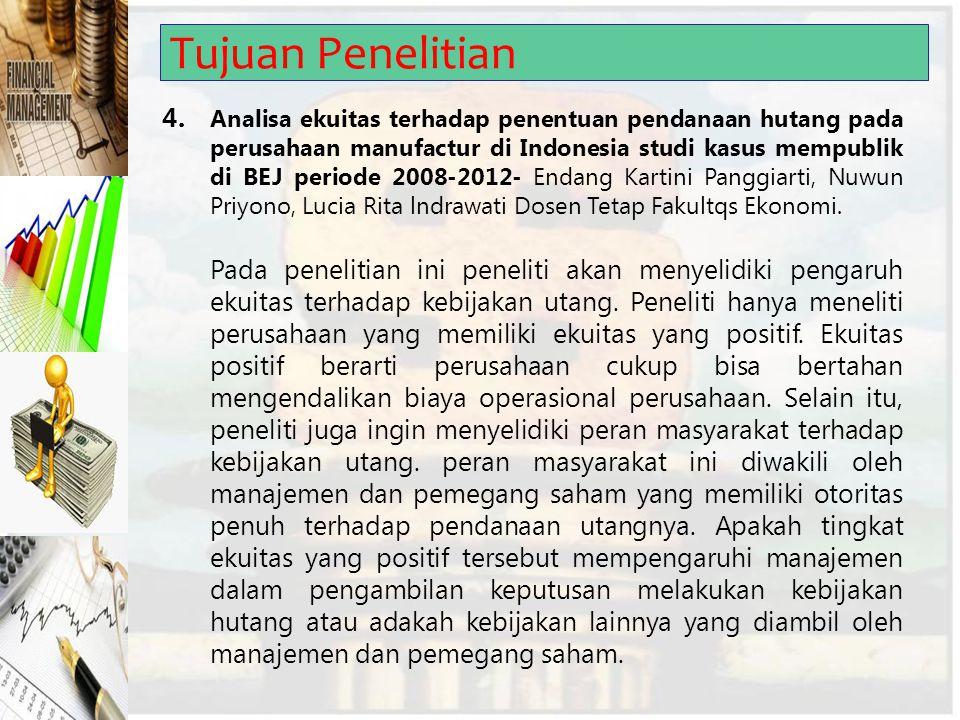 Tujuan Penelitian 4. Analisa ekuitas terhadap penentuan pendanaan hutang pada perusahaan manufactur di Indonesia studi kasus mempublik di BEJ periode