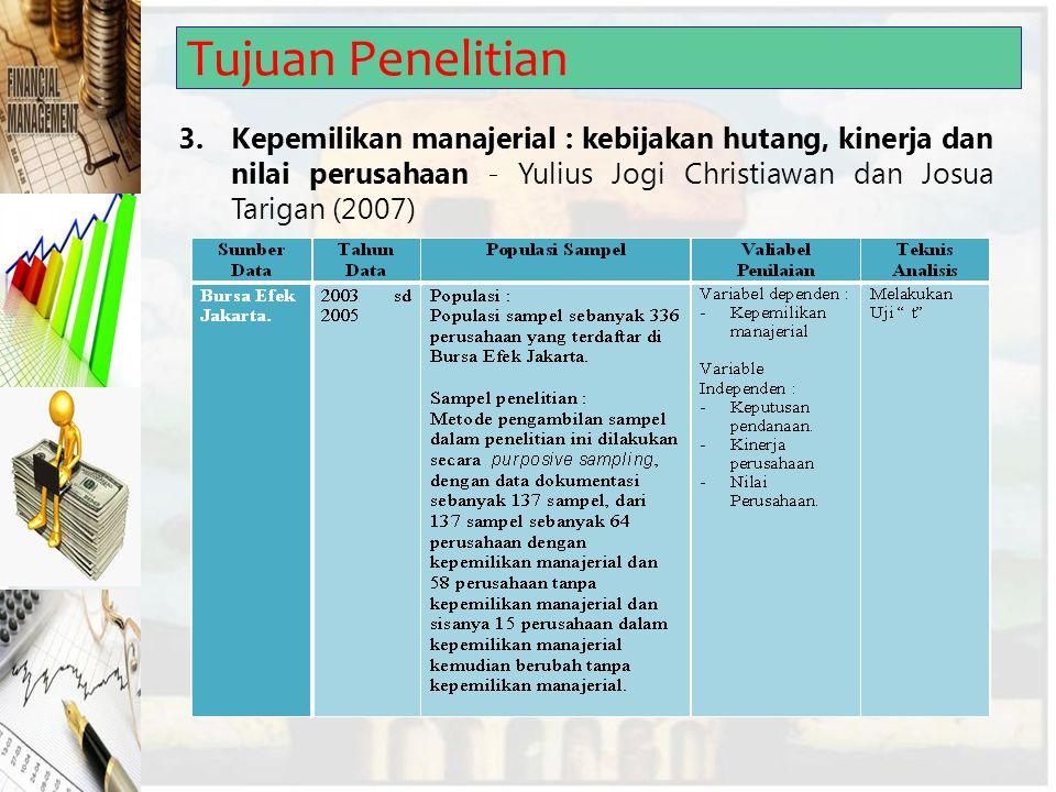 Tujuan Penelitian 3.Kepemilikan manajerial : kebijakan hutang, kinerja dan nilai perusahaan - Yulius Jogi Christiawan dan Josua Tarigan (2007)