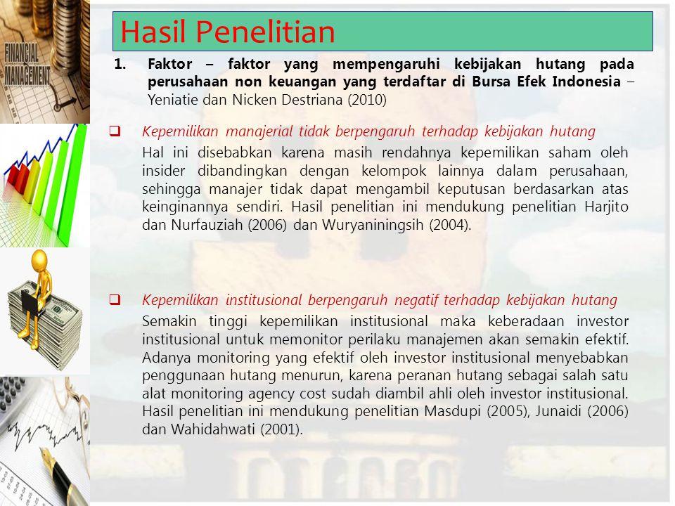 Hasil Penelitian 1.Faktor – faktor yang mempengaruhi kebijakan hutang pada perusahaan non keuangan yang terdaftar di Bursa Efek Indonesia – Yeniatie d