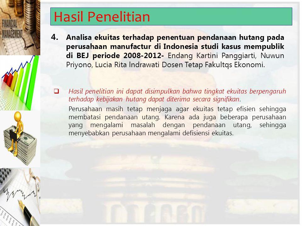 Hasil Penelitian 4. Analisa ekuitas terhadap penentuan pendanaan hutang pada perusahaan manufactur di Indonesia studi kasus mempublik di BEJ periode 2