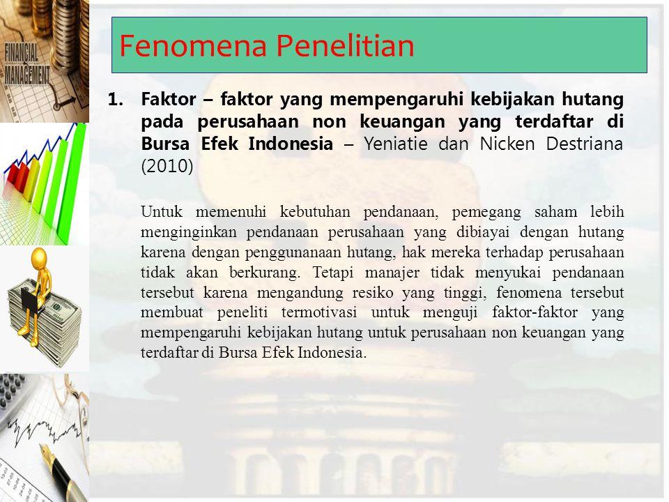 Fenomena Penelitian 1.Faktor – faktor yang mempengaruhi kebijakan hutang pada perusahaan non keuangan yang terdaftar di Bursa Efek Indonesia – Yeniati