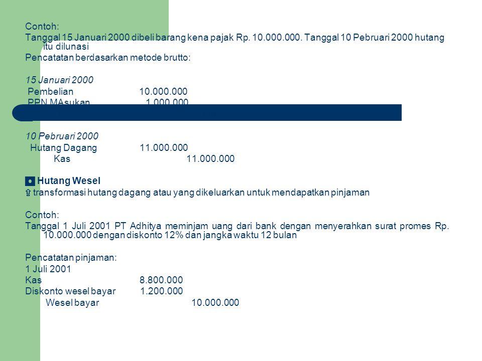 Contoh: Tanggal 15 Januari 2000 dibeli barang kena pajak Rp. 10.000.000. Tanggal 10 Pebruari 2000 hutang itu dilunasi Pencatatan berdasarkan metode br
