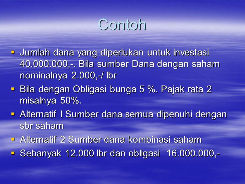 Contoh  Jumlah dana yang diperlukan untuk investasi 40.000.000,-. Bila sumber Dana dengan saham nominalnya 2.000,-/ lbr  Bila dengan Obligasi bunga
