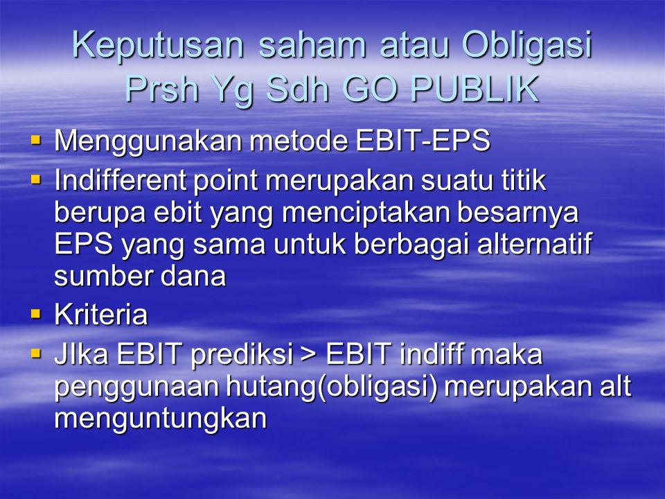 Keputusan saham atau Obligasi Prsh Yg Sdh GO PUBLIK  Menggunakan metode EBIT-EPS  Indifferent point merupakan suatu titik berupa ebit yang menciptak