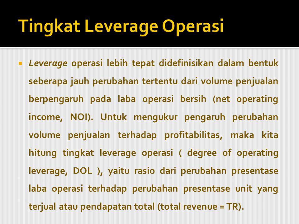  Tingkat leverage operasi = perubahan presentase laba operasi perubahan % unit yang terjual atau pendapatan total