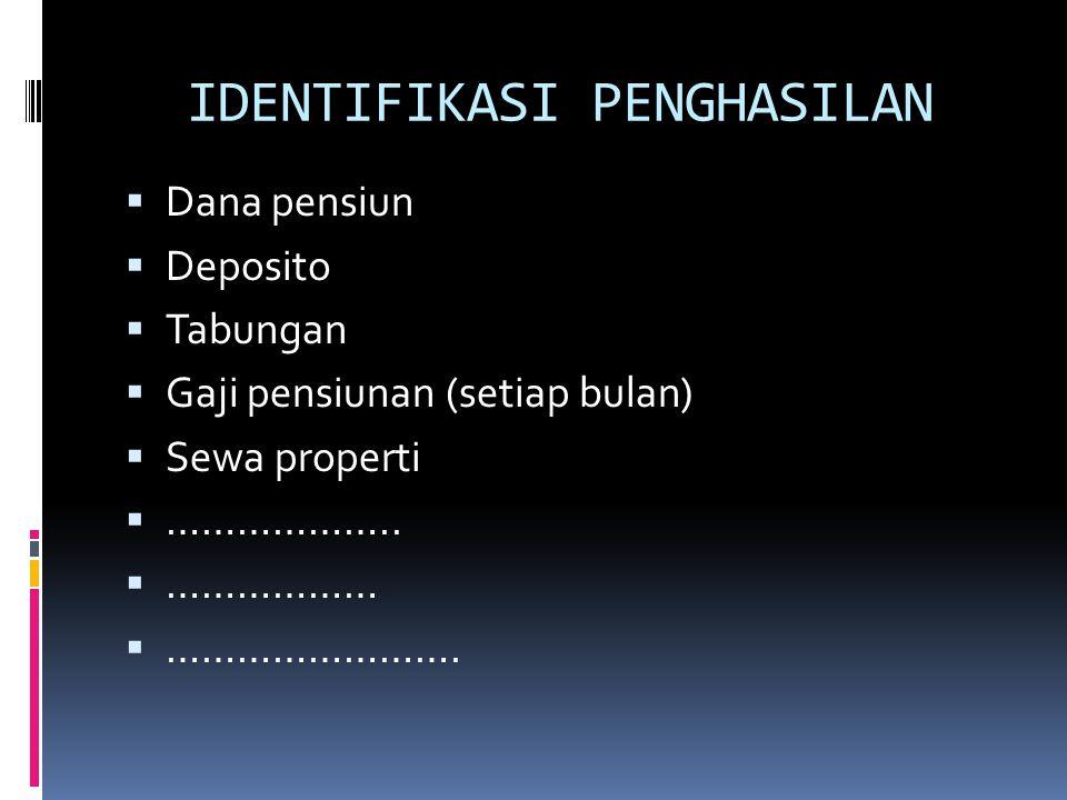 IDENTIFIKASI PENGHASILAN  Dana pensiun  Deposito  Tabungan  Gaji pensiunan (setiap bulan)  Sewa properti  ………………..