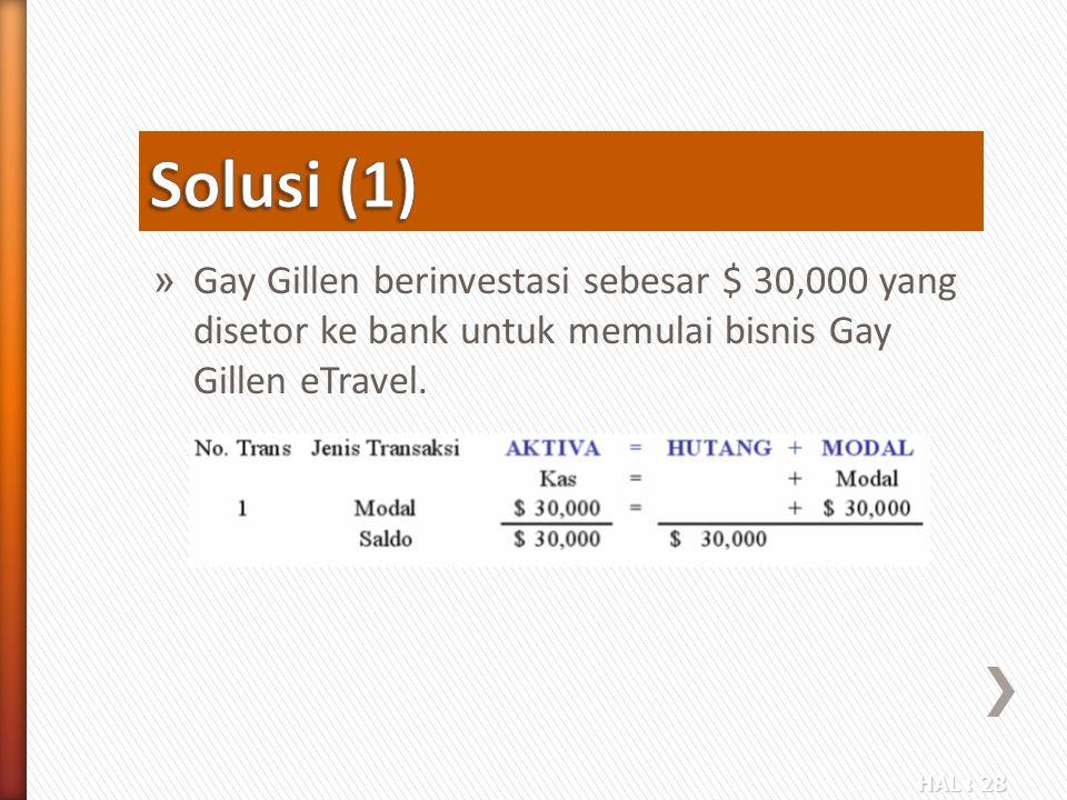 HAL : 28 » Gay Gillen berinvestasi sebesar $ 30,000 yang disetor ke bank untuk memulai bisnis Gay Gillen eTravel.