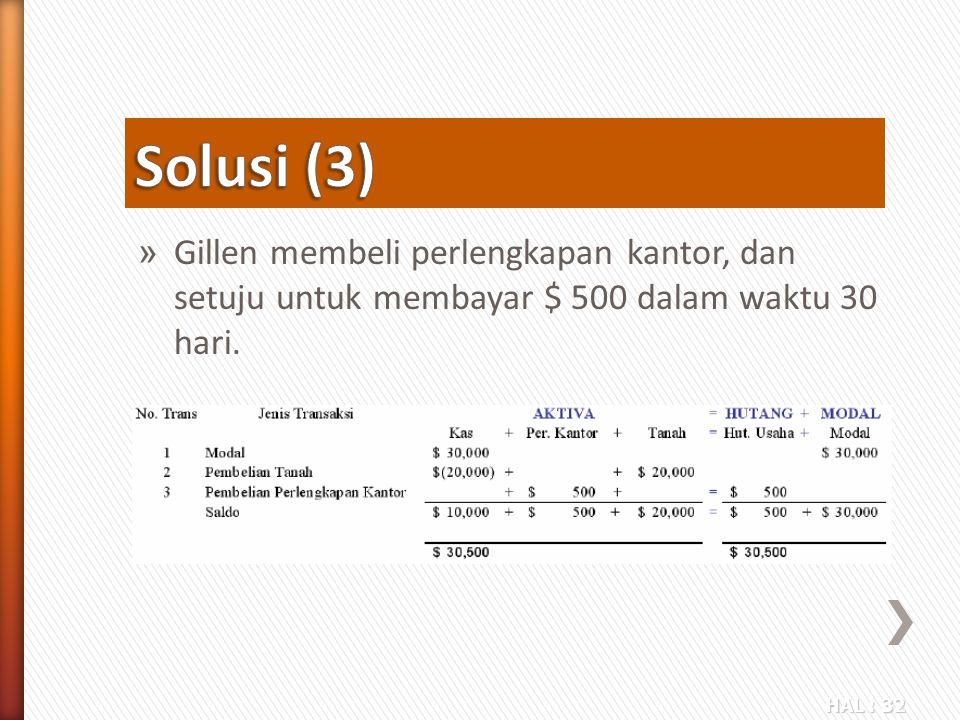 HAL : 32 » Gillen membeli perlengkapan kantor, dan setuju untuk membayar $ 500 dalam waktu 30 hari.