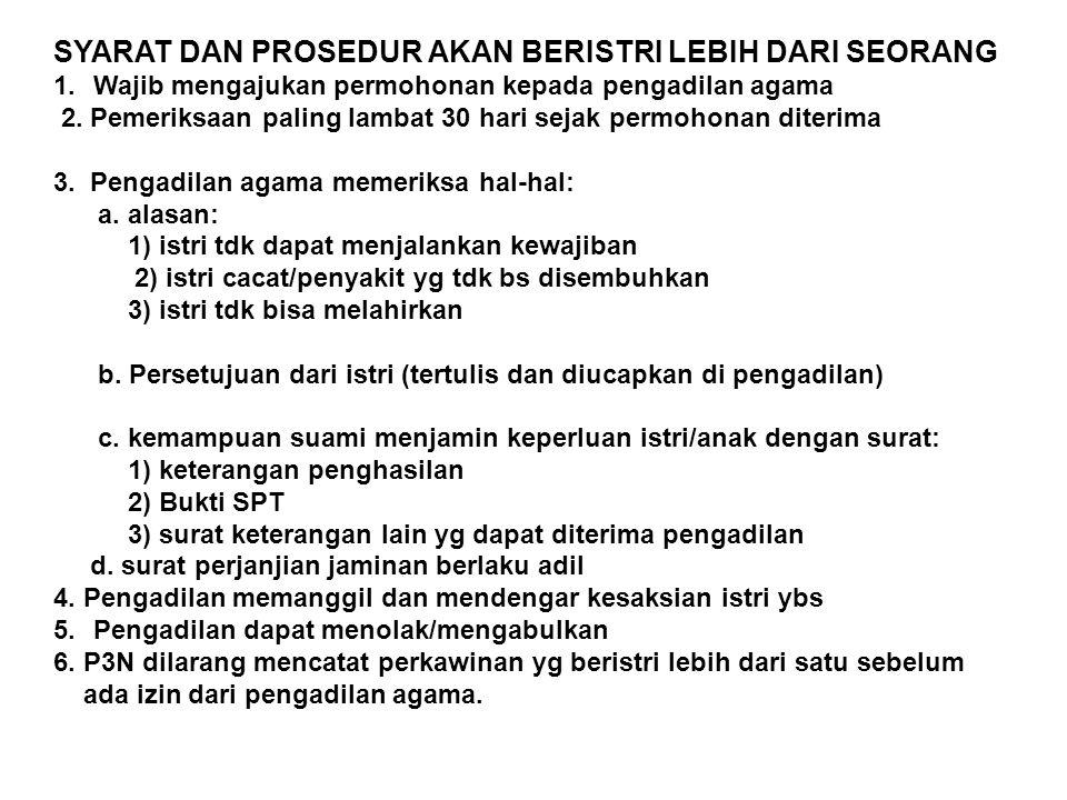 SYARAT DAN PROSEDUR AKAN BERISTRI LEBIH DARI SEORANG 1.Wajib mengajukan permohonan kepada pengadilan agama 2. Pemeriksaan paling lambat 30 hari sejak