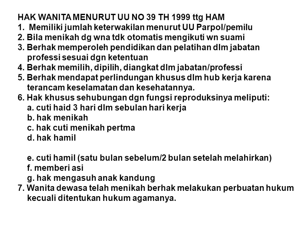 HAK WANITA MENURUT UU NO 39 TH 1999 ttg HAM 1.Memiliki jumlah keterwakilan menurut UU Parpol/pemilu 2. Bila menikah dg wna tdk otomatis mengikuti wn s