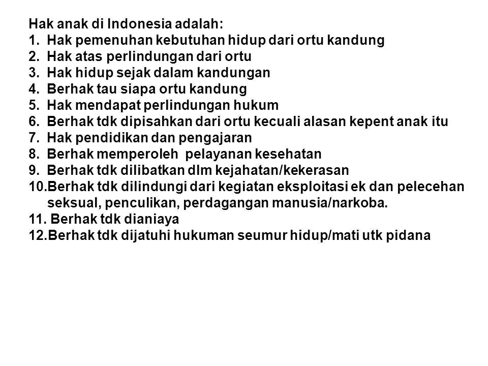 Hak anak di Indonesia adalah: 1.Hak pemenuhan kebutuhan hidup dari ortu kandung 2.Hak atas perlindungan dari ortu 3.Hak hidup sejak dalam kandungan 4.