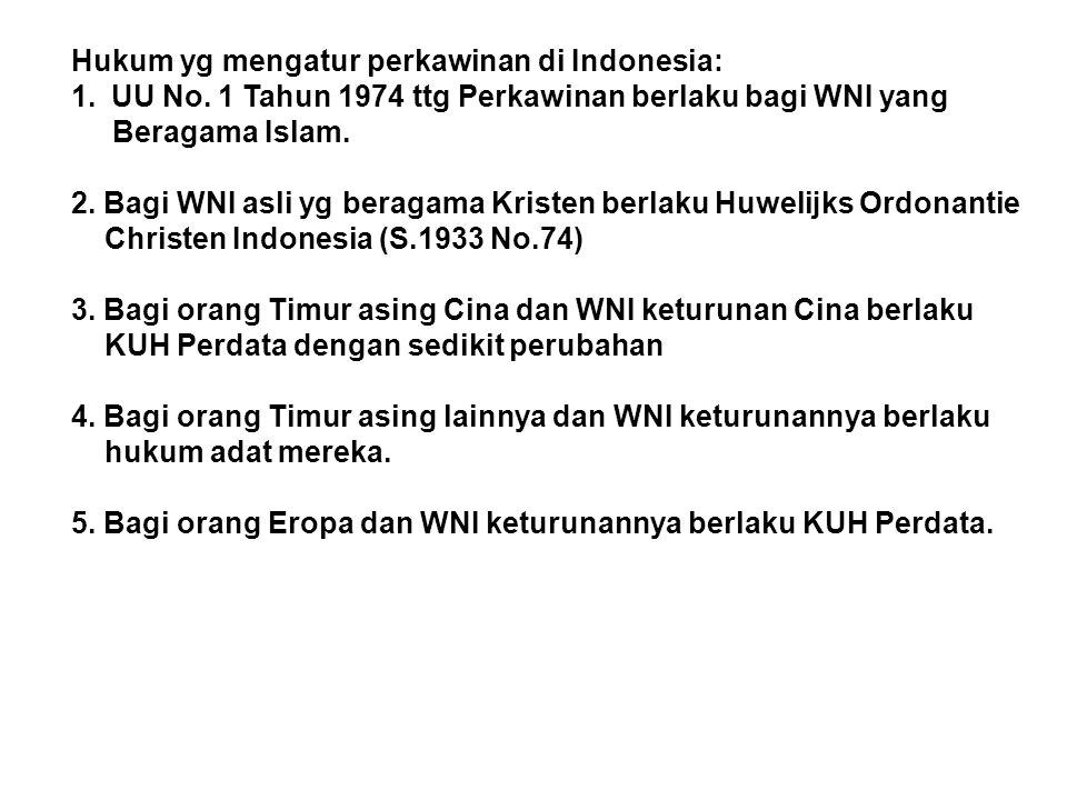 Hukum yg mengatur perkawinan di Indonesia: 1.UU No. 1 Tahun 1974 ttg Perkawinan berlaku bagi WNI yang Beragama Islam. 2. Bagi WNI asli yg beragama Kri