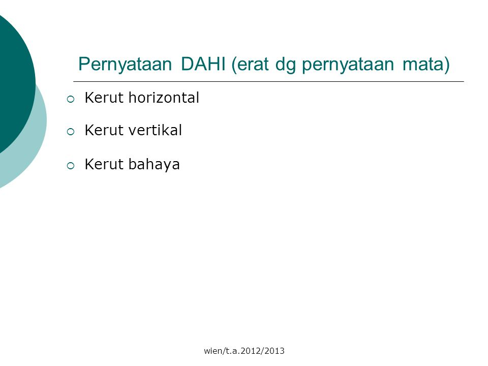 wien/t.a.2012/2013 Pernyataan DAHI (erat dg pernyataan mata)  Kerut horizontal  Kerut vertikal  Kerut bahaya