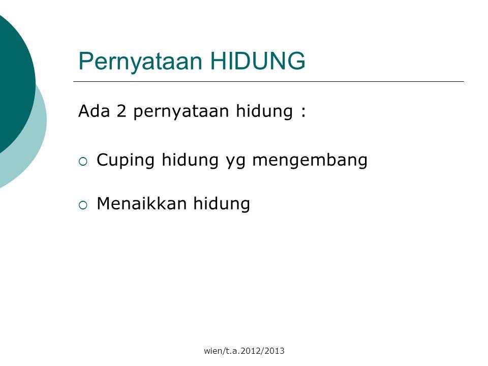 wien/t.a.2012/2013 Pernyataan HIDUNG Ada 2 pernyataan hidung :  Cuping hidung yg mengembang  Menaikkan hidung