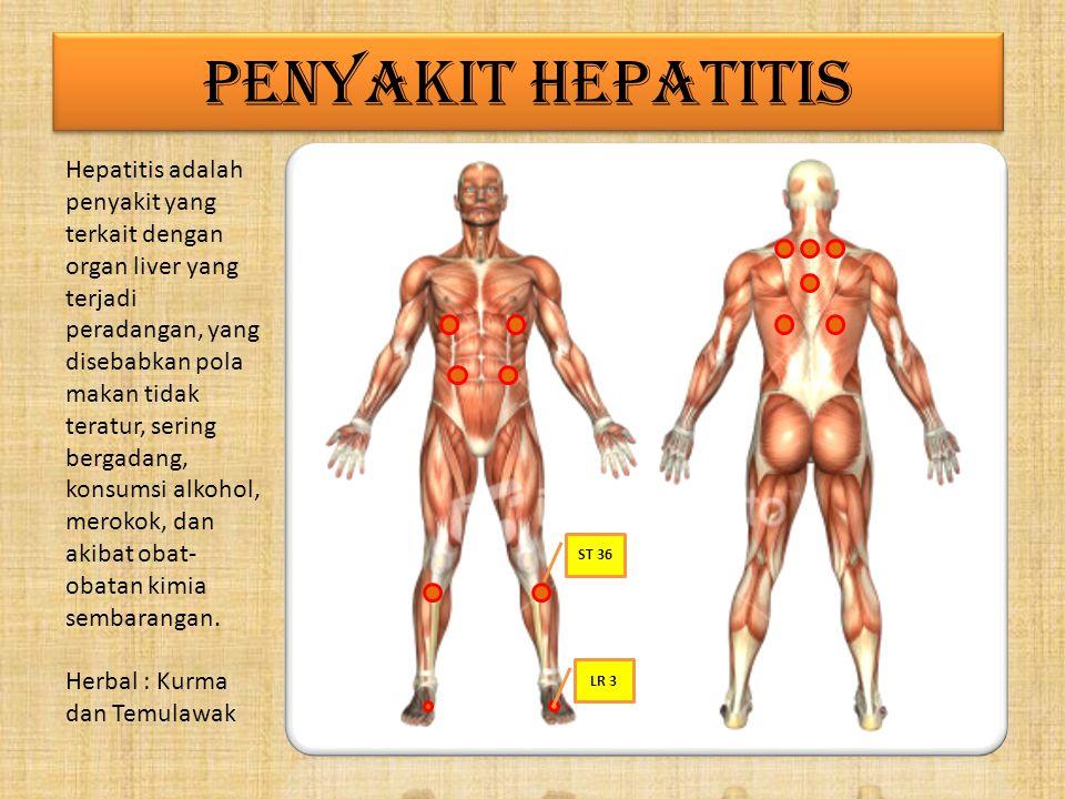 PENYAKIT HEPATITIS Hepatitis adalah penyakit yang terkait dengan organ liver yang terjadi peradangan, yang disebabkan pola makan tidak teratur, sering bergadang, konsumsi alkohol, merokok, dan akibat obat- obatan kimia sembarangan.
