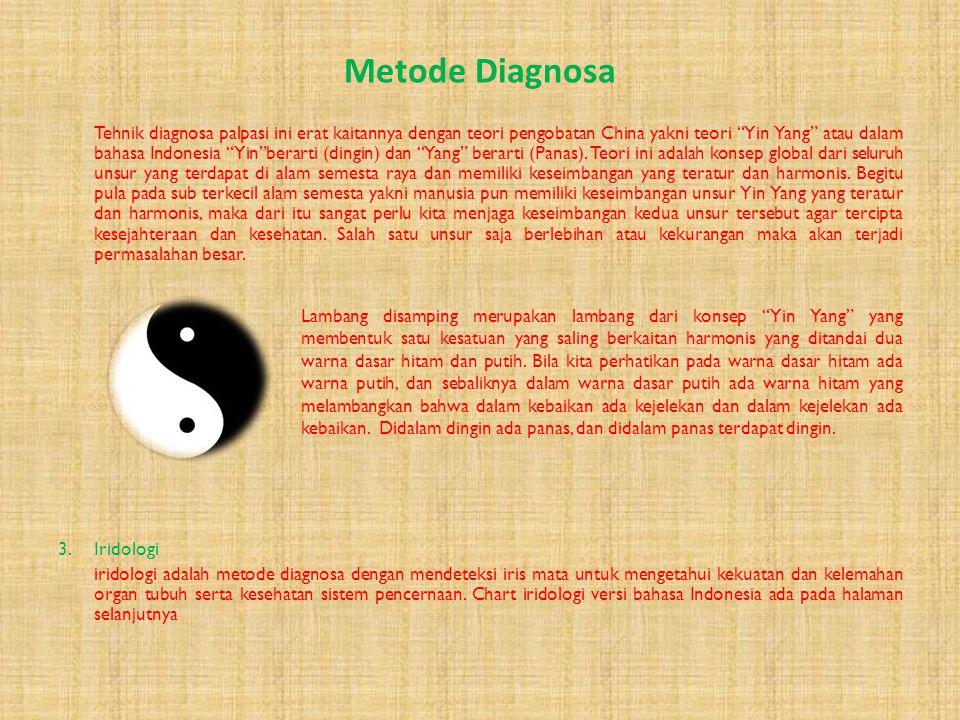Metode Diagnosa 3.Palpasi metode diagnosa dengan cara mendeteksi denyut nadi pada bagian-bagian tertentu, diantaranya tangan, leher dan kaki. Metode i