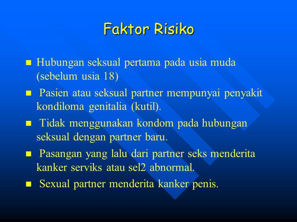 Faktor Risiko Hubungan seksual pertama pada usia muda (sebelum usia 18) Pasien atau seksual partner mempunyai penyakit kondiloma genitalia (kutil). Ti