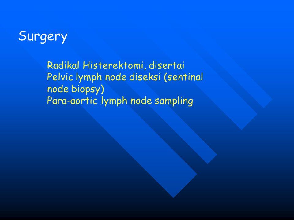 Surgery Radikal Histerektomi, disertai Pelvic lymph node diseksi (sentinal node biopsy) Para-aortic lymph node sampling