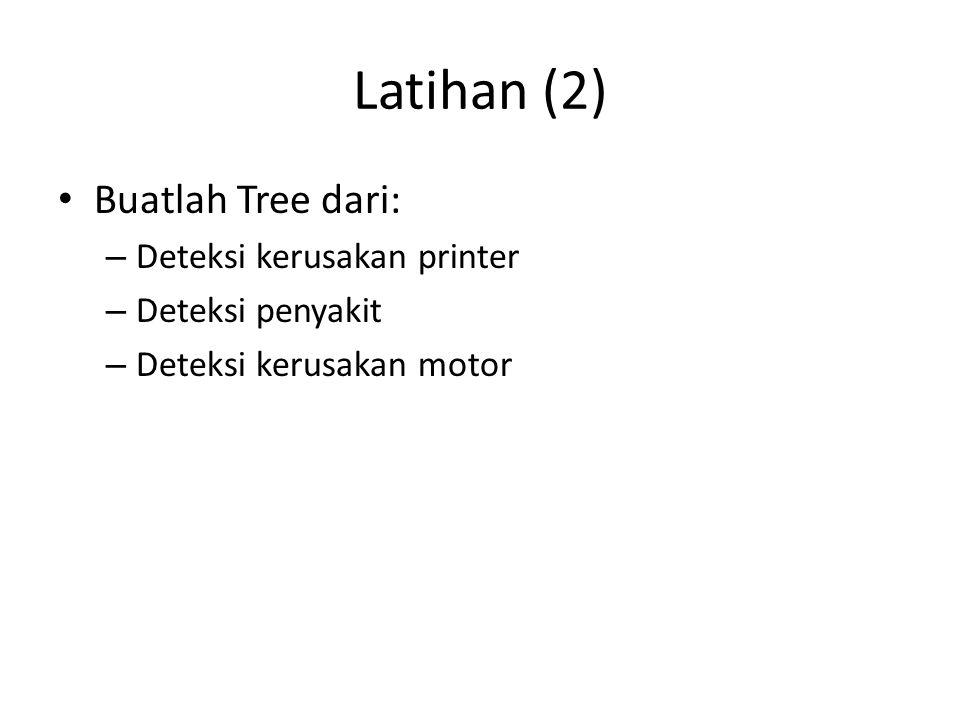 Latihan (2) Buatlah Tree dari: – Deteksi kerusakan printer – Deteksi penyakit – Deteksi kerusakan motor