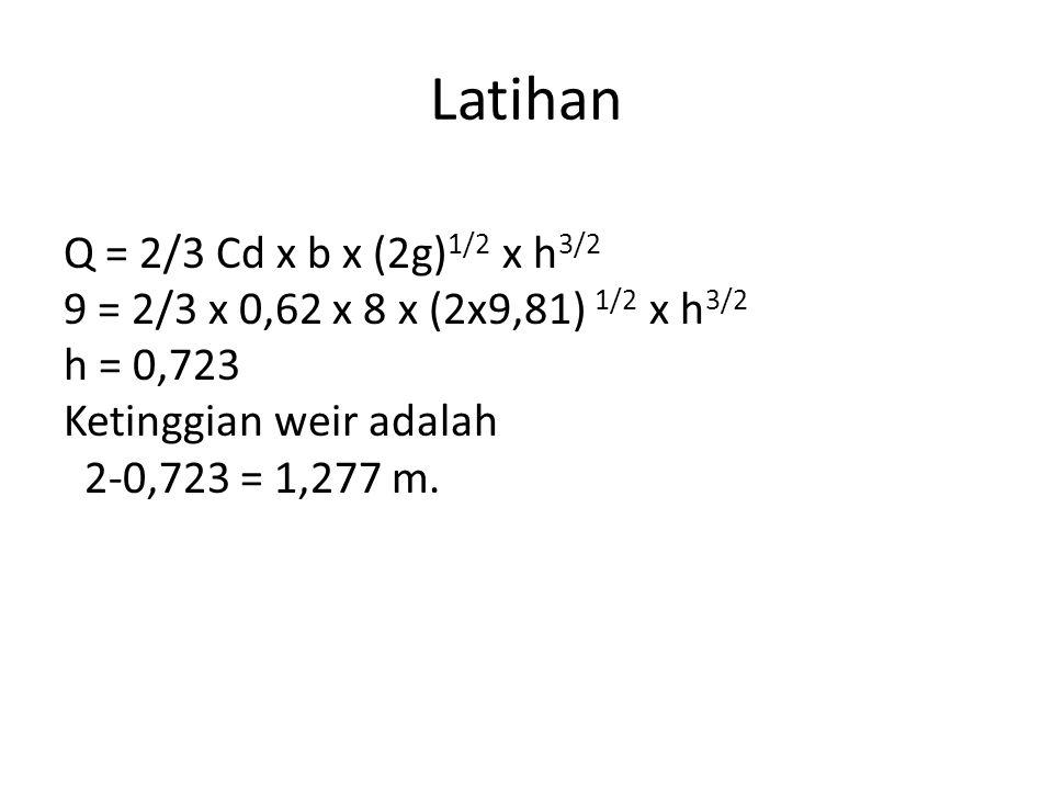 Latihan Data curah hujan harian suatu DAS adalah 0,2 juta kubik meter per hari.