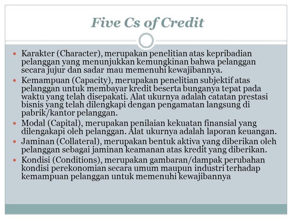 Five Cs of Credit Karakter (Character), merupakan penelitian atas kepribadian pelanggan yang menunjukkan kemungkinan bahwa pelanggan secara jujur dan