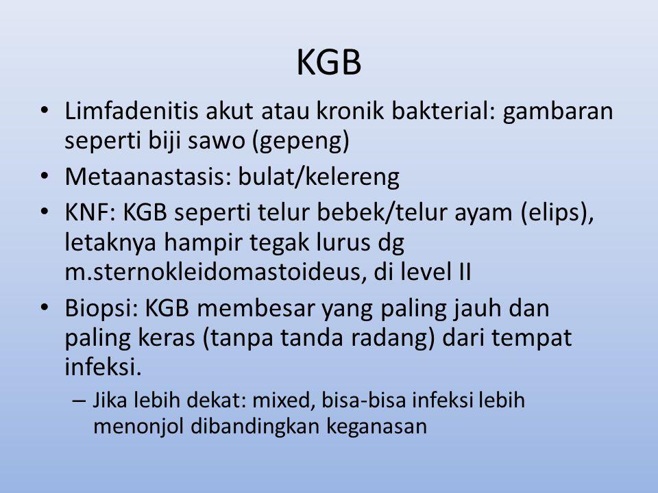 KGB Limfadenitis akut atau kronik bakterial: gambaran seperti biji sawo (gepeng) Metaanastasis: bulat/kelereng KNF: KGB seperti telur bebek/telur ayam