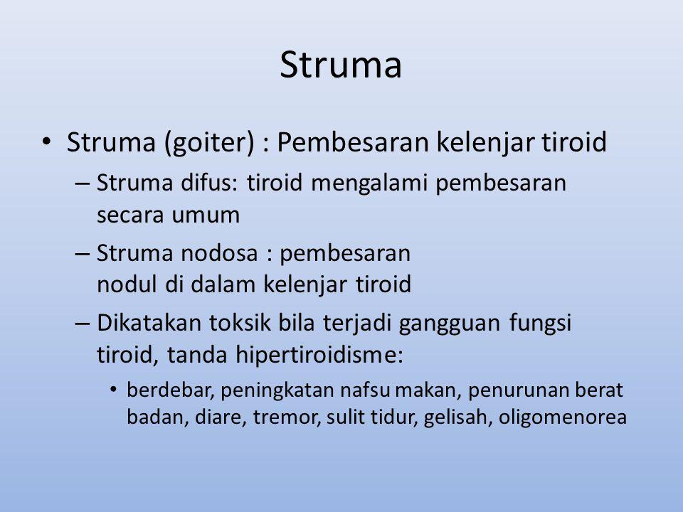 Struma Struma (goiter) : Pembesaran kelenjar tiroid – Struma difus: tiroid mengalami pembesaran secara umum – Struma nodosa : pembesaran nodul di dala