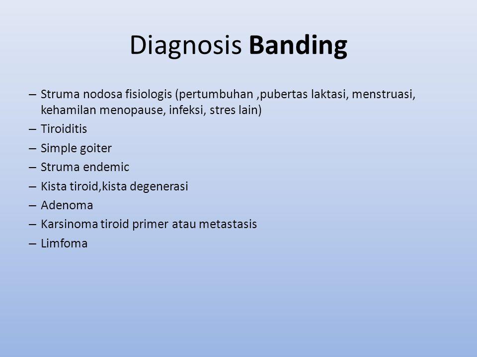 Diagnosis Banding – Struma nodosa fisiologis (pertumbuhan,pubertas laktasi, menstruasi, kehamilan menopause, infeksi, stres lain) – Tiroiditis – Simpl