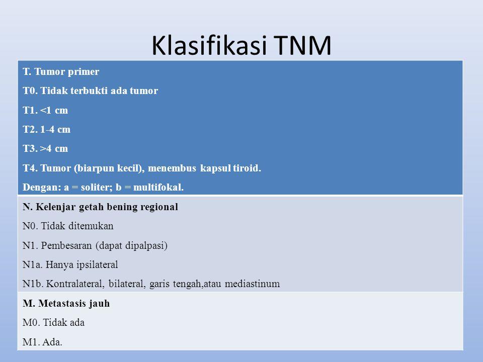Klasifikasi TNM T. Tumor primer T0. Tidak terbukti ada tumor T1. <1 cm T2. 1-4 cm T3. >4 cm T4. Tumor (biarpun kecil), menembus kapsul tiroid. Dengan: