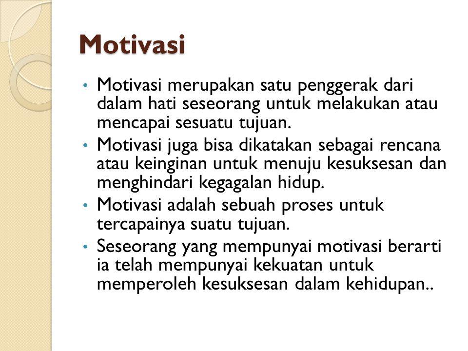 Motivasi Motivasi merupakan satu penggerak dari dalam hati seseorang untuk melakukan atau mencapai sesuatu tujuan. Motivasi juga bisa dikatakan sebaga